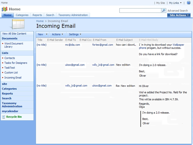 Virto Incoming Email Feature Screenshot