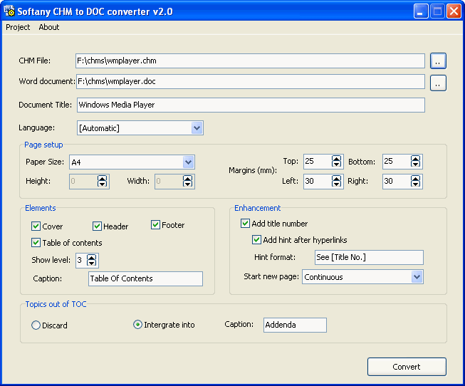 Softany CHM to DOC Converter Screenshot