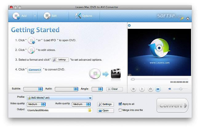 Leawo Mac DVD to AVI Converter Screenshot 3