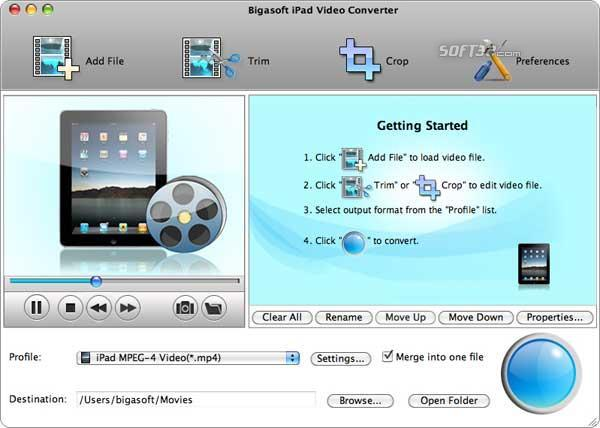 Bigasoft iPad Video Converter for Mac Screenshot 3