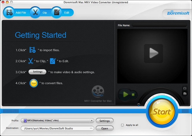 Doremisoft Mac MKV Video Converter Screenshot