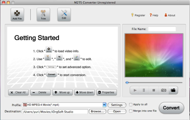 M2TS Converter for Mac Screenshot
