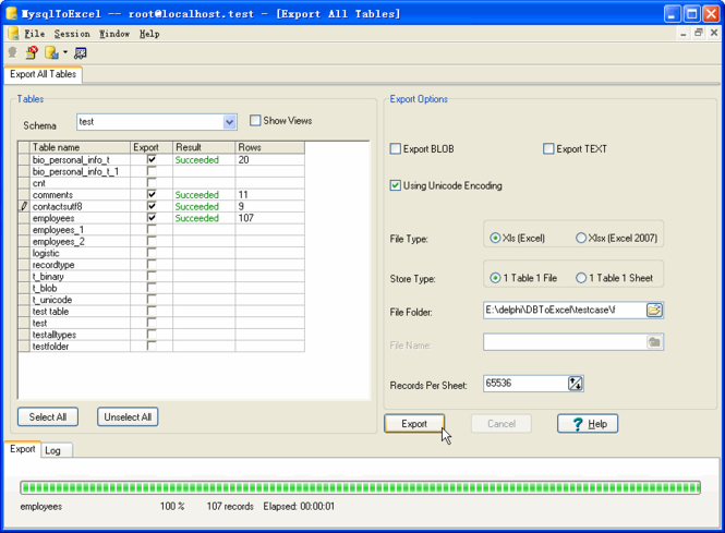 Withdata MysqlToExcel Screenshot