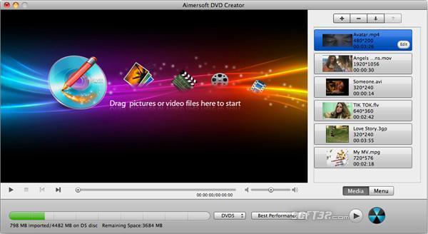 Aimersoft DVD Creator for Mac Screenshot