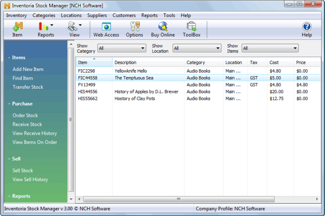 Inventoria Inventory and Stock Control Software Screenshot