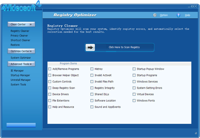 4Videosoft Registry Optimizer Screenshot