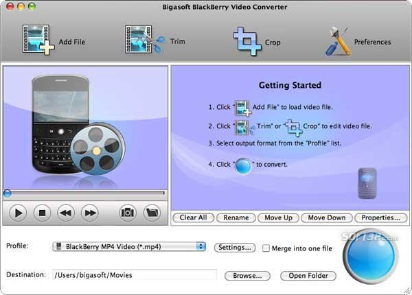 Bigasoft BlackBerry Video Converter for Mac Screenshot 3