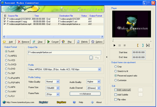 Torrent AVCHD Converter Screenshot