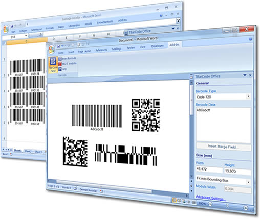 Barcode Word Add-In TBarCode Office Screenshot