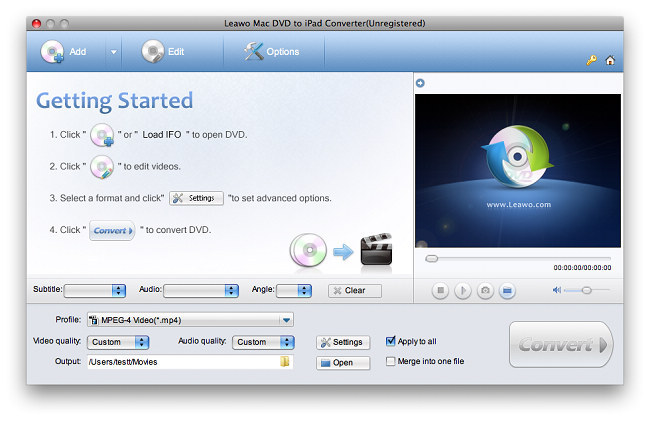 Leawo Mac DVD to iPad Converter Screenshot