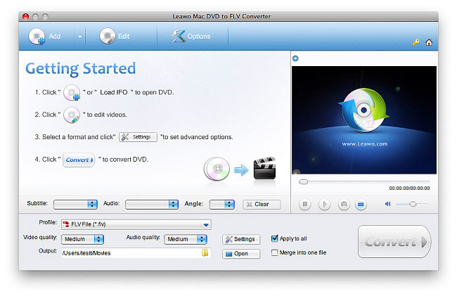 Leawo Mac DVD to FLV Converter Screenshot