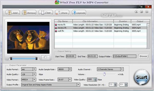 WinX Free FLV to MP4 Converter Screenshot 3