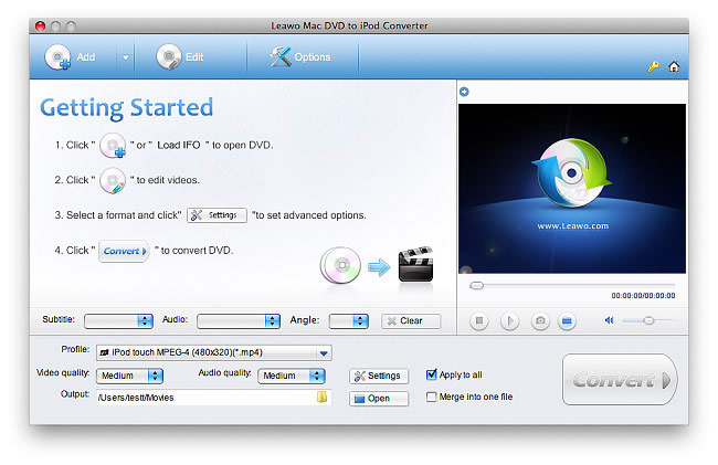 Leawo Mac DVD to iPod Converter Screenshot
