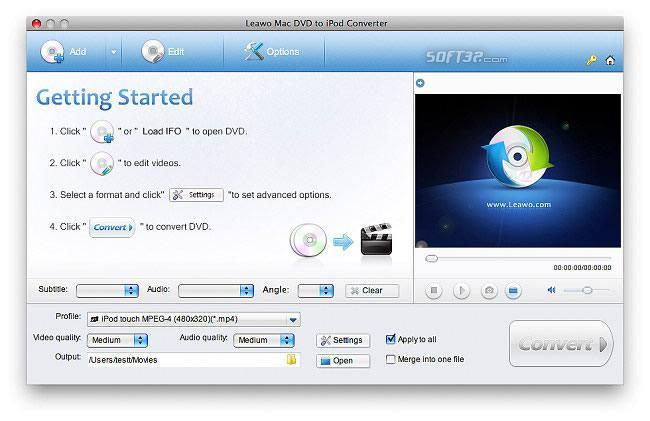 Leawo Mac DVD to iPod Converter Screenshot 3