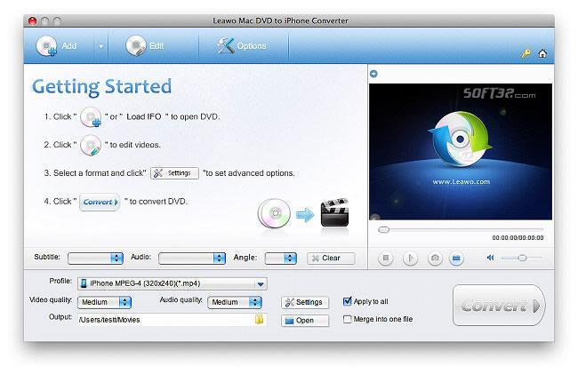 Leawo Mac DVD to iPhone Converter Screenshot 3