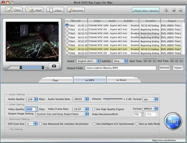WinX DVD Rip Copy for Mac Screenshot 3
