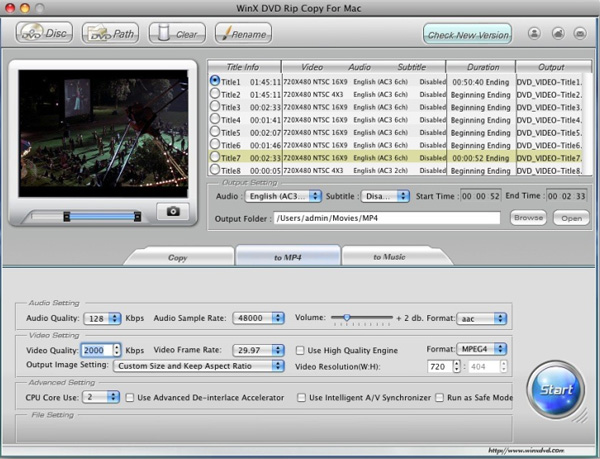 WinX DVD Rip Copy for Mac Screenshot