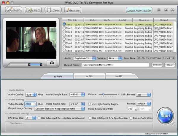 WinX DVD to FLV Converter for Mac Screenshot 3