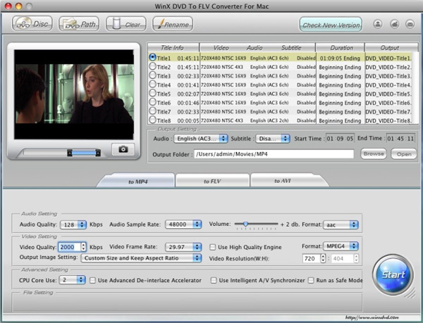 WinX DVD to FLV Converter for Mac Screenshot