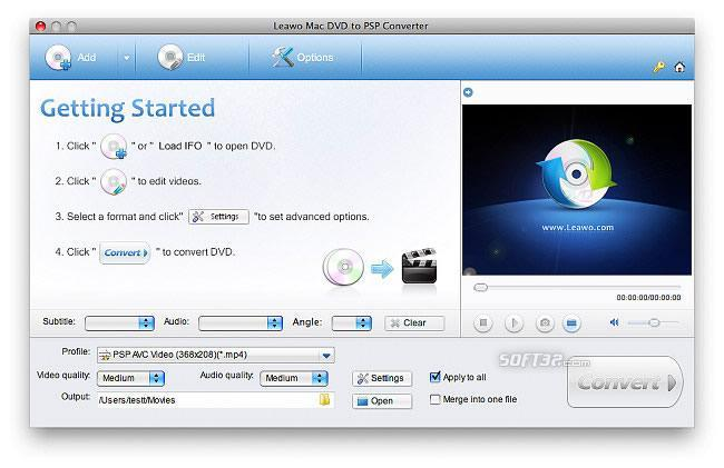 Leawo Mac DVD to PSP Converter Screenshot 3