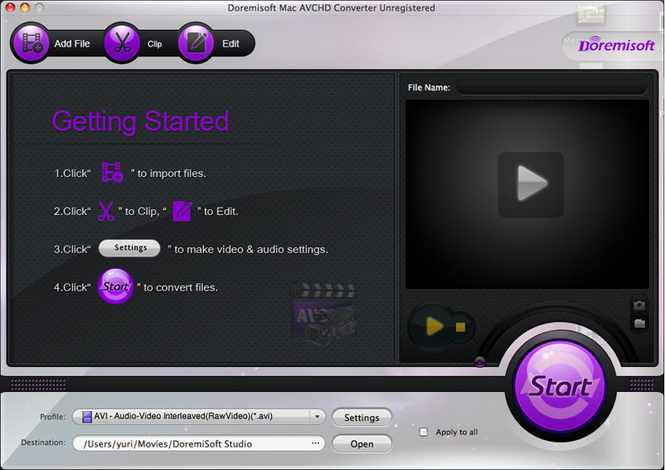 Doremisoft Mac AVCHD Converter Screenshot