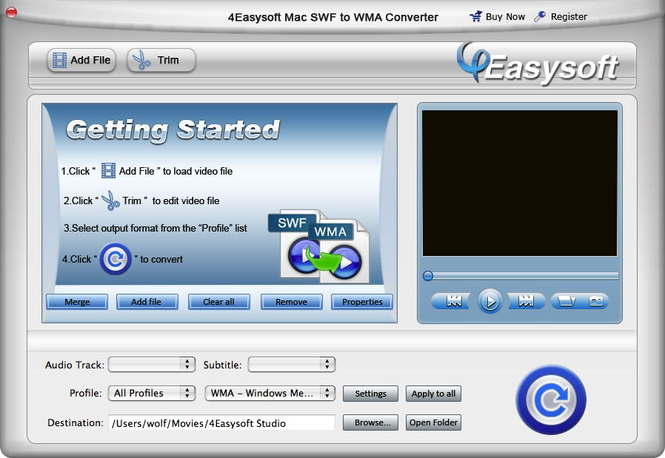 4Easysoft Mac SWF to WMA Converter Screenshot