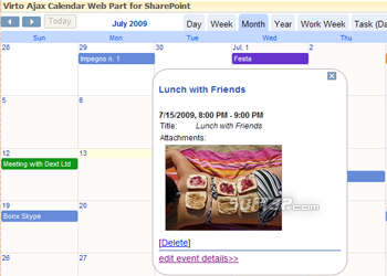 Virto Ajax Calendar for SharePoint 2010 Screenshot 2