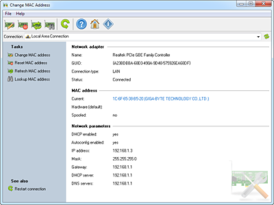 Change MAC Address by LizardSystems Screenshot 1