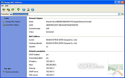 Change MAC Address by LizardSystems Screenshot 2