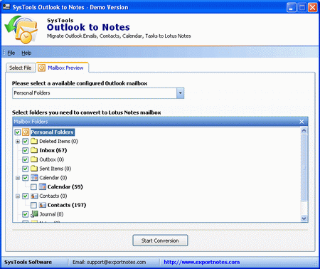 Migrating to Lotus Notes from Outlook Screenshot 1