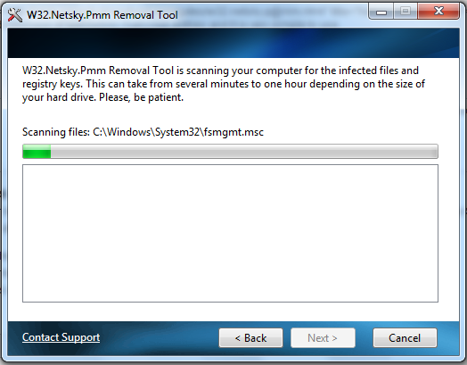 Netsky Removal Tool Screenshot