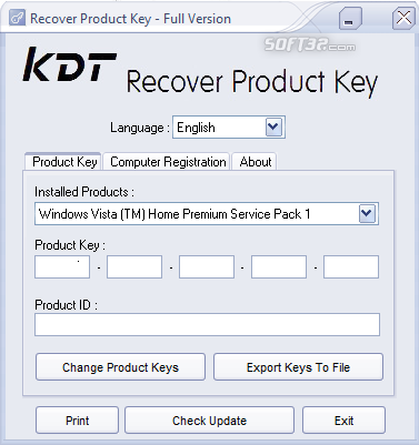 KDT Recover Product Key Screenshot 2