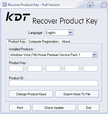 KDT Recover Product Key Screenshot