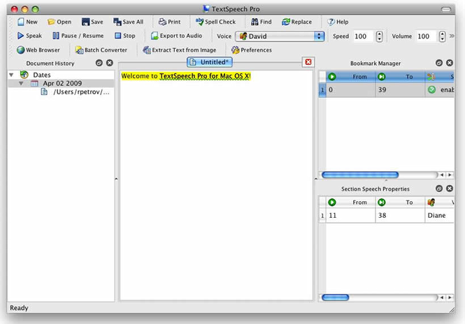 TextSpeech Pro Elements for Mac OS X Screenshot 1
