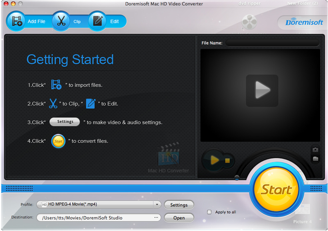 Doremisoft Mac HD Video Converter Screenshot