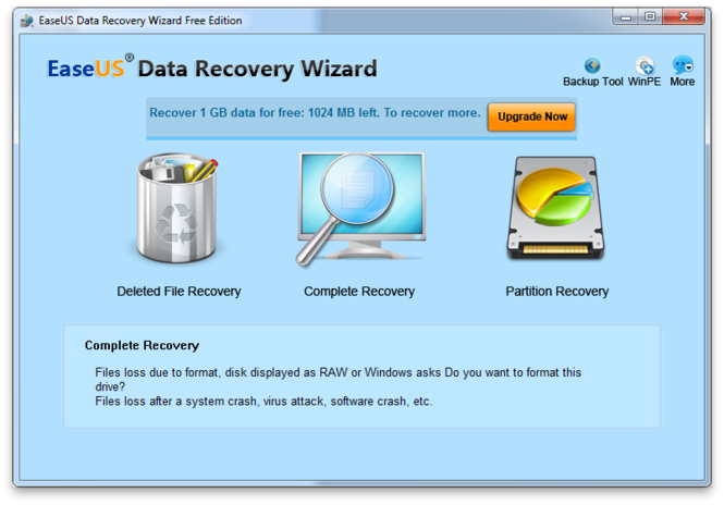 EaseUS Data Recovery Wizard Free Edition Screenshot