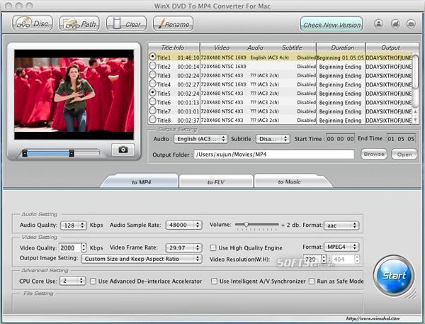 WinX DVD to MP4 Converter for Mac Screenshot 3
