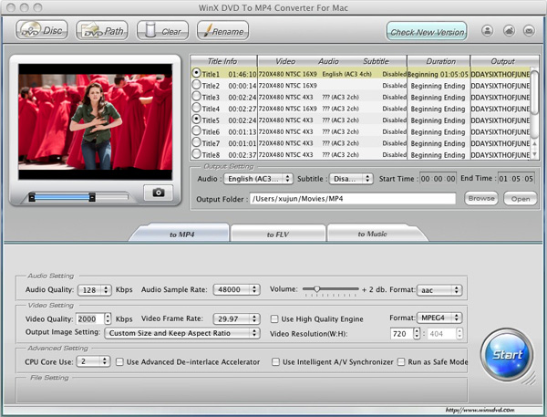 WinX DVD to MP4 Converter for Mac Screenshot