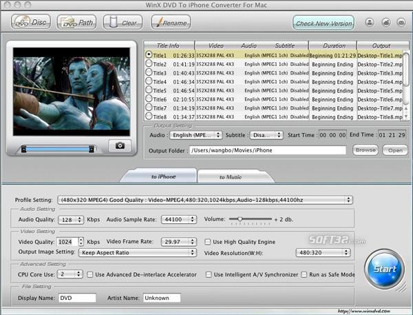 WinX DVD to iPhone Converter for Mac Screenshot 3