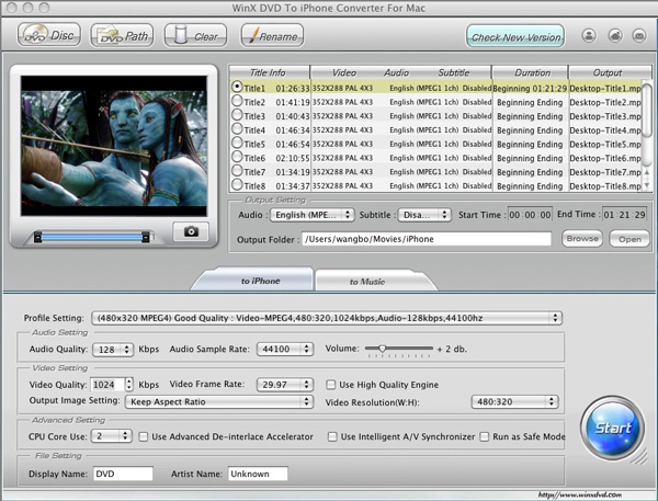 WinX DVD to iPhone Converter for Mac Screenshot