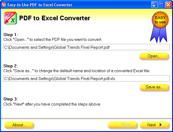Easy-to-Use PDF to Excel Converter Screenshot