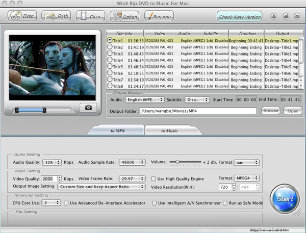 WinX Rip DVD to Music for Mac Screenshot