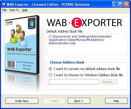 Convert WAB to PST Screenshot