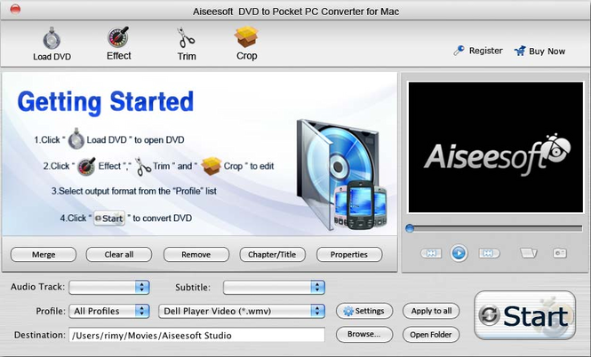 Aiseesoft Mac DVD to Pocket PC Converter Screenshot