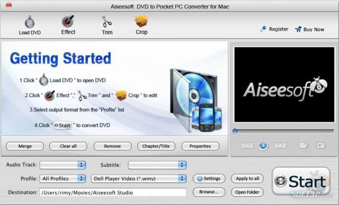 Aiseesoft Mac DVD to Pocket PC Converter Screenshot 2