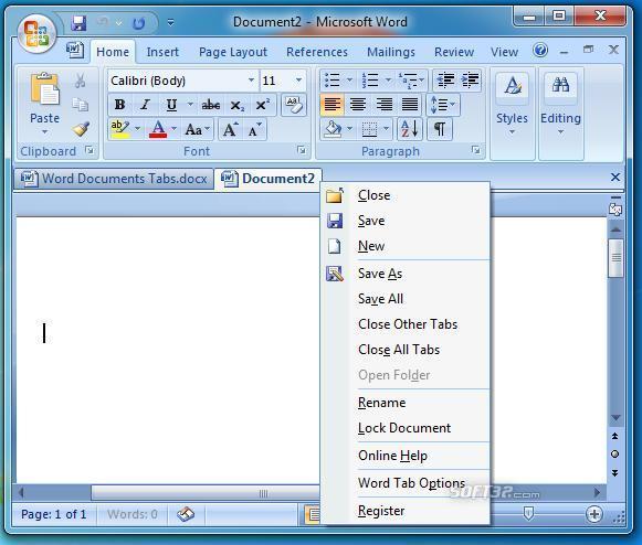Word Documents Tabs Screenshot 2