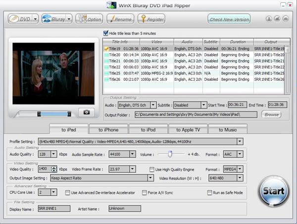 WinX DVD to iPad Ripper Screenshot