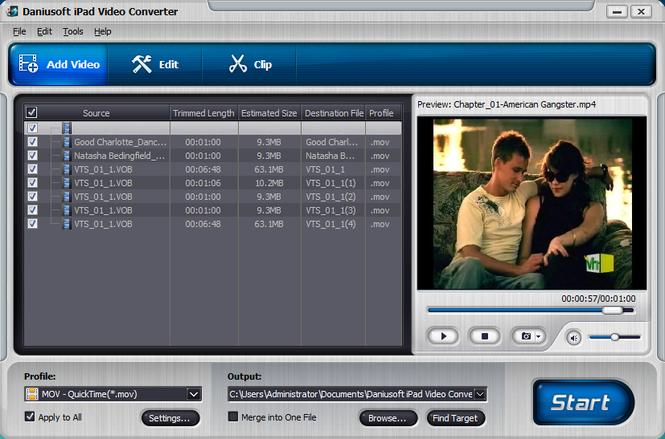 Daniusoft iPad Video Converter Screenshot 1