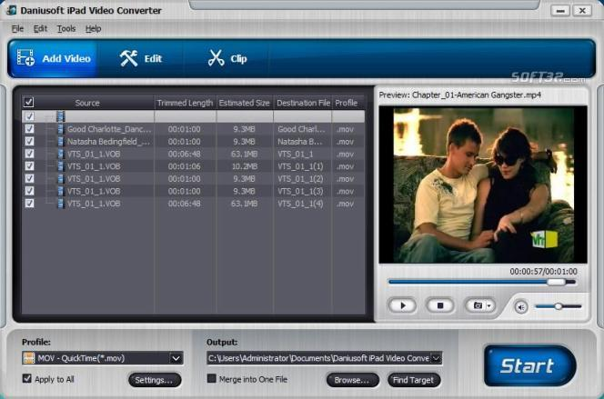 Daniusoft iPad Video Converter Screenshot 2