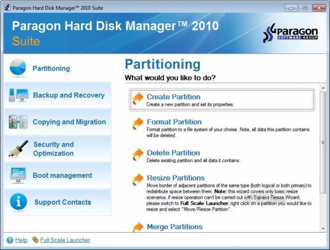 Paragon Hard Disk Manager Suite (64 bit) Screenshot
